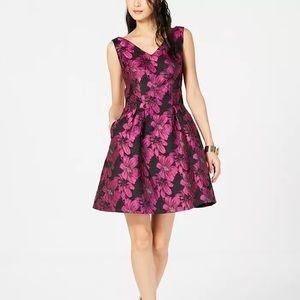 DONNA RICCO Metallic Floral Fit & Flare Dress Sz 6